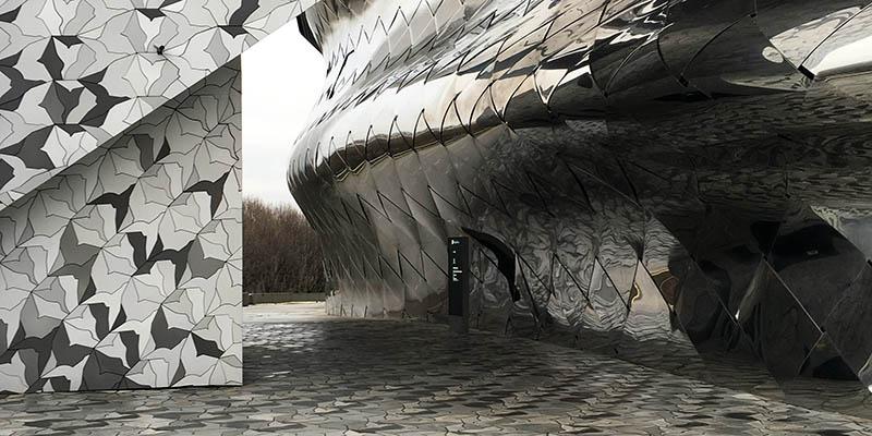 Modern architecture in Paris Philharmonie by Ateliers Jean Nouvel