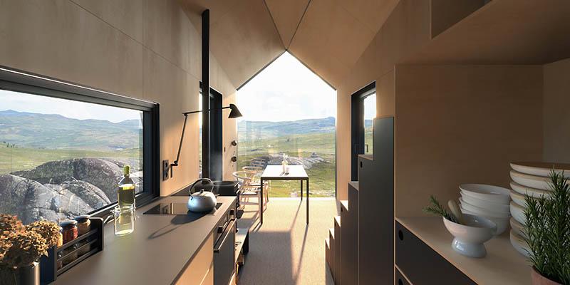 Vjuhytta, a compact cabin designed by DARK Arkitekter